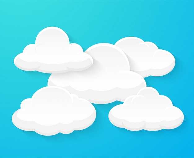 Flat vector clouds decorated separately