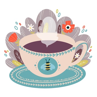 Flat vector color cartoon illustration of coffee mug on saucer with flowers in doodle style. a cup of tea illustration.