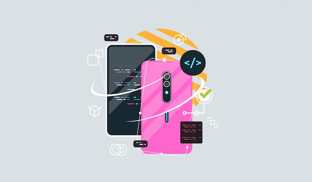 Flat vector concept illustration of smartphone usability.