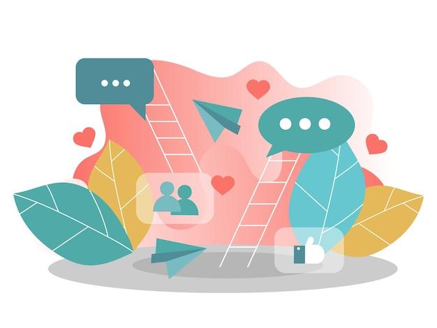 Плоские векторные концепции сети социальных средств массовой информации, цифровой коммуникации, в чате. творческие векторные иллюстрации для баннера, плаката, веб-сайта в современных цветах