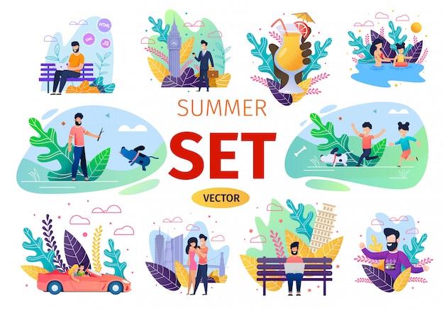 Люди летние развлечения flat vector concepts set