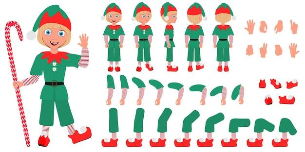 크리스마스 요정 의상을 입고 아이 소년의 평면 벡터 개념적 그림