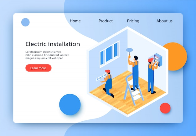 Flat vector electric installation landing page.
