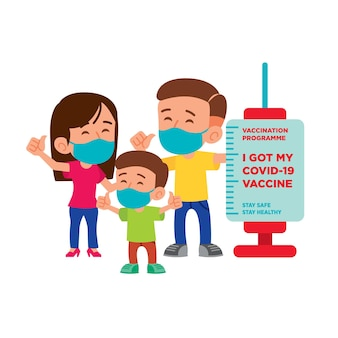 Flat vector of family with face mask standing beside vaccination signboard