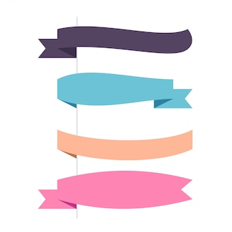 Flat vector four horizontal ribbons set