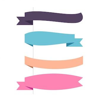 Flat vector four horizontal ribbons set