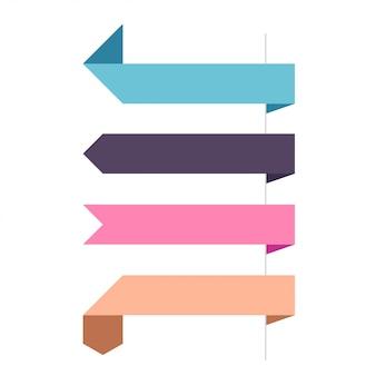 Flat vector four horizontal ribbons