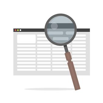 Плоский векторный значок - иллюстрация значка поиска документа, выделенного на белом