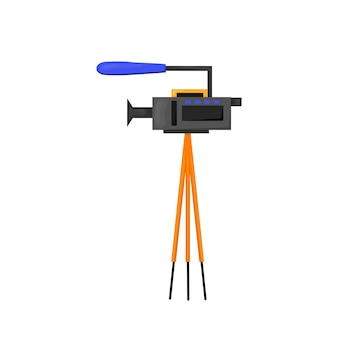 Flat vector icon - illustration of video camera icon isolated on white