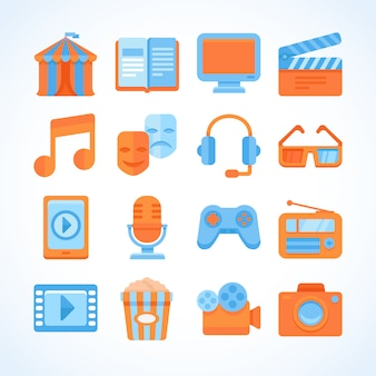 Flat vector icon set of entertainment symbols