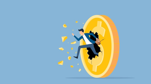 Flat vector illustration businessman speed running breakthrough to dollar coin money concept
