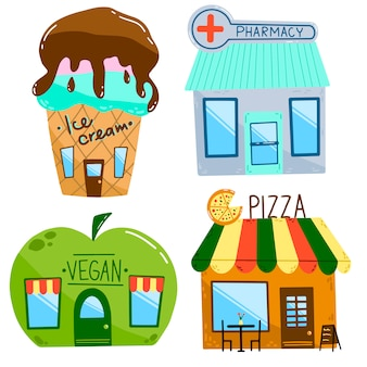 Flat vector illustration of cartoon houses.