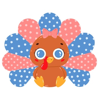 Flat vector illustration of a cute cartoon baby turkey girl with a pink bow sitting isolated on white