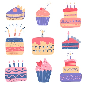 Flat vector illustration of cute cartoon birthday cakes and cupcakes with candles in color doodle style