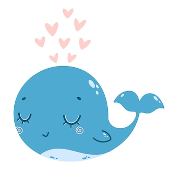 Flat vector illustration of a cute cartoon blue whale with a fountain of pink hearts.