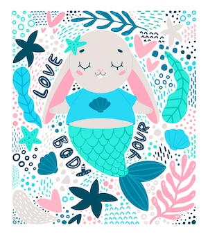 Flat vector illustration of cute cartoon bunny mermaid in doodle style. love your body illustration.