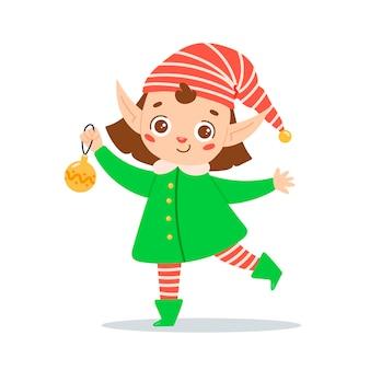 Flat vector illustration of a cute cartoon christmas elf girl santa claus helper