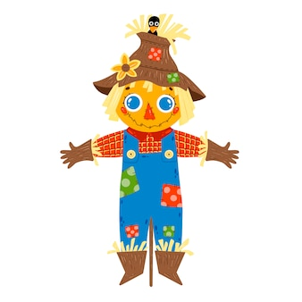 Flat vector illustration of cute cartoon farm boy scarecrow in blue denim overalls isolated on white background.