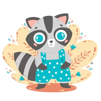 Flat vector illustration of cute cartoon raccoon in blue overalls.