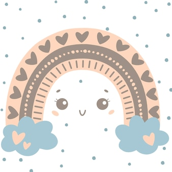 Flat vector illustration of cute cartoon rainbow with eyes in colored doodle style. weather illustration.