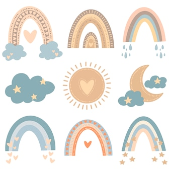 Flat vector illustration of cute cartoon rainbows in colored doodle style. weather illustration set.