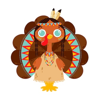 Flat vector illustration of a cute cartoon turkey girl isolated on white