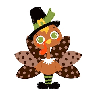 Flat vector illustration of a cute cartoon turkey wearing a pilgrim hat isolated on white