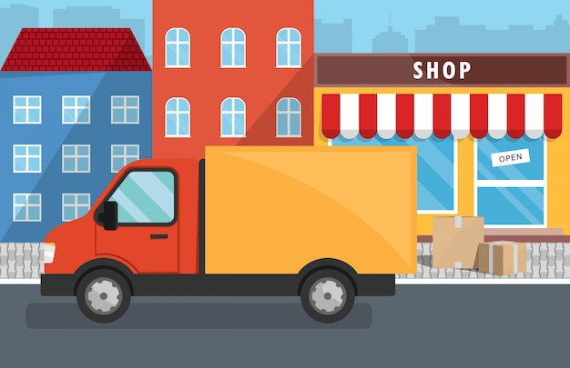 Flat vector illustration of delivery service for store