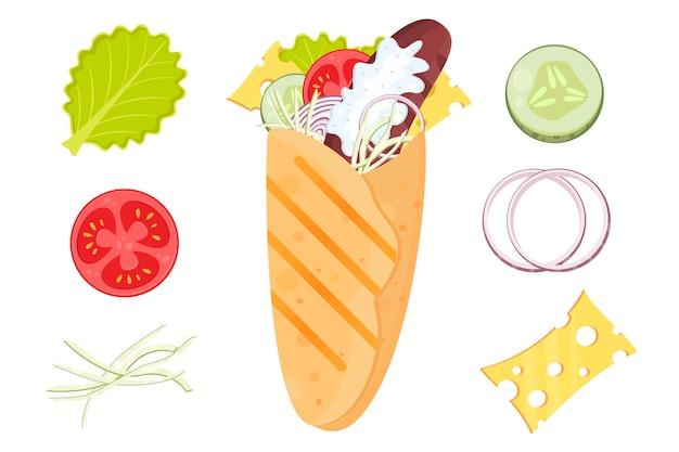 Flat vector illustration doner kebab shawarma burrito cartoon fast food tortilla with sausage