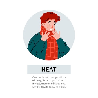 Flat vector illustration of the man is suffering from cold and flu symptoms