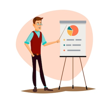 Flat vector illustration of a man standing near the stand and explaining the info.