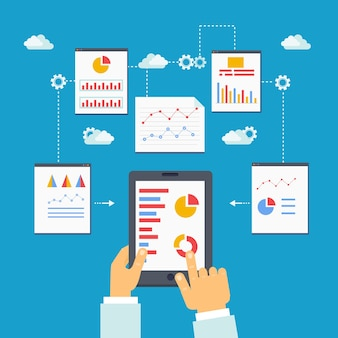 Flat vector illustration of mobile optimization, analytics and seo