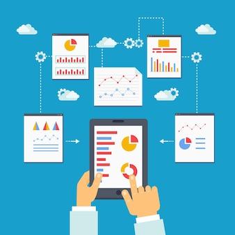 Flat vector illustration of mobile optimization, analytics and seo