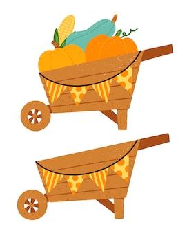 Плоские векторные иллюстрации тачки урожая cartoonutumn с овощами.