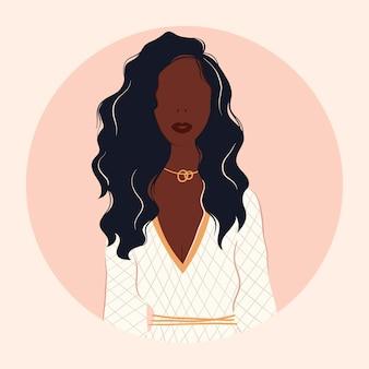 Плоские векторные иллюстрации веселой современной модной девушки. сильная красивая независимая женщина, одетая в стильную одежду. портрет красивой афро-американской женщины с длинными волнистыми волосами.