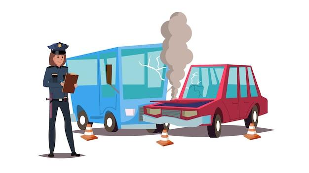 Плоская векторная иллюстрация женщины-полицейского, стоящей перед автокатастрофой и составляющей протокол. изолированные на белом.