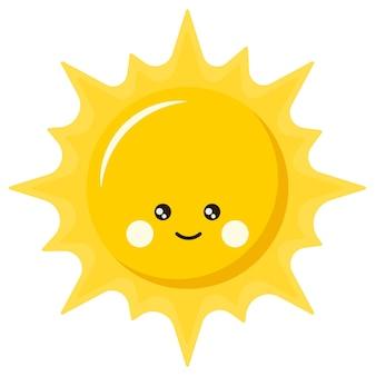 귀여운 미소 행복 태양 만화 아이콘 로고 디자인, 귀여운 스타일의 평면 벡터 일러스트 레이 션.