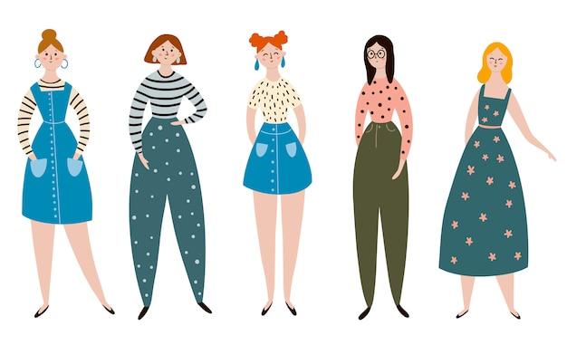 カジュアルな服装の女性モデルのフラットのベクターイラストです。女性のセット。