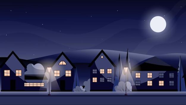 밤 빛의 등불 도시의 평면 벡터 그림이 창에 켜져 있습니다