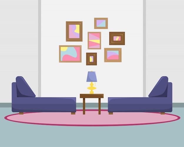 소파와 벽에 그림 거실의 평면 벡터 일러스트 레이 션.