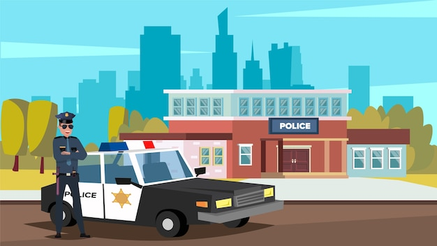 Flat vector illustration of a policeman standing in front of a police car and a police office in a big city.