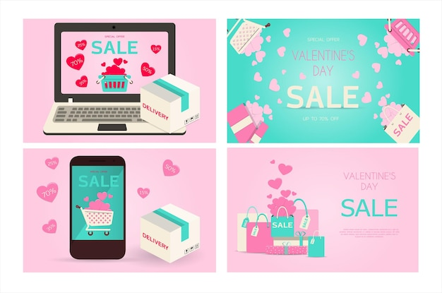 Flat vector illustration for sale online store delivery of goods for the holiday