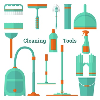 Flat vector illustration set of tools for cleaning and cleaning equipment vector icons