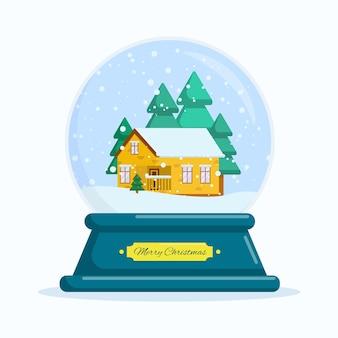 Плоские векторные иллюстрации снежный шар с рождеством