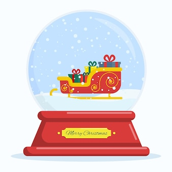 Flat vector illustration snow globe with santa claus sleigh and gifts merry christmas