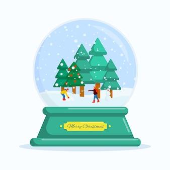 フラットベクトルイラスト雪玉明けましておめでとうとメリークリスマス