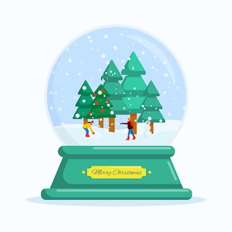 Flat vector illustration snowball happy new year and merry christmas
