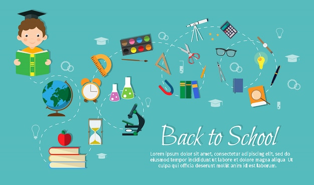 Flat vector illustration stock school set objects