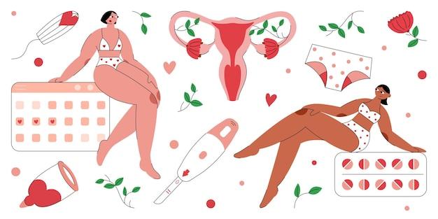 Flat vector illustration on theme of female menstruation two beautiful woman
