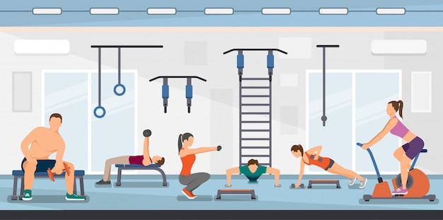 Flat vector illustration training fitness club.